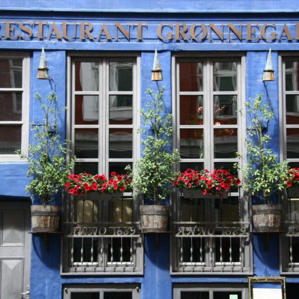 Restaurant Grønnegade - Blaue Fassade in Kopenhagen