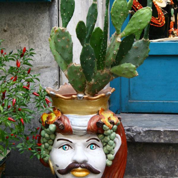 Majolika-Keramik - Blumentopf in Taormina