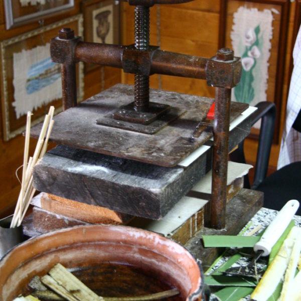 Zum Einweichen werden die Streifenmehrfach in ein Wasserbad gelegt, die Papyrus-Stampfe presst die Blätter zusammen.