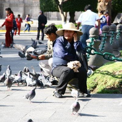 Gelangweilte Snack-Verkäuferin auf der Plaza de Armas in Arequipa