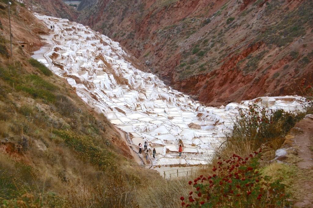 Salineras de Maras - Die Salzterrassen bei Maras sind ein ausgeklügeltes Kanalsystem. Die Salzbecken werden mit stark salzhaltigem Wasser aus den Bergen gefüllt. Beim Verdunsten des Wassers kann das Salz abgeschöpft werden.