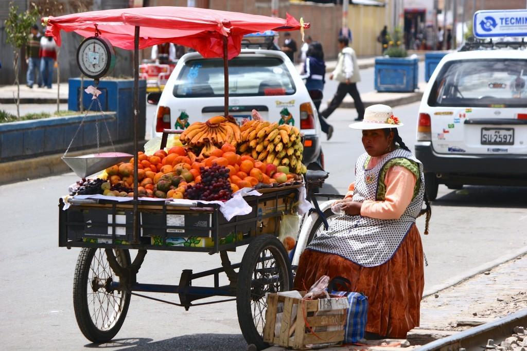 Mobiler Obststand in Puno