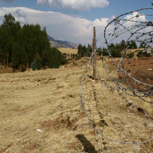 Stalcheldraht um ein Feld in der Nähe der Festung Sacsayhuamán