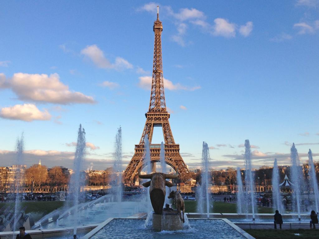 Eiffelturm vor den Brunnen von Trocadero