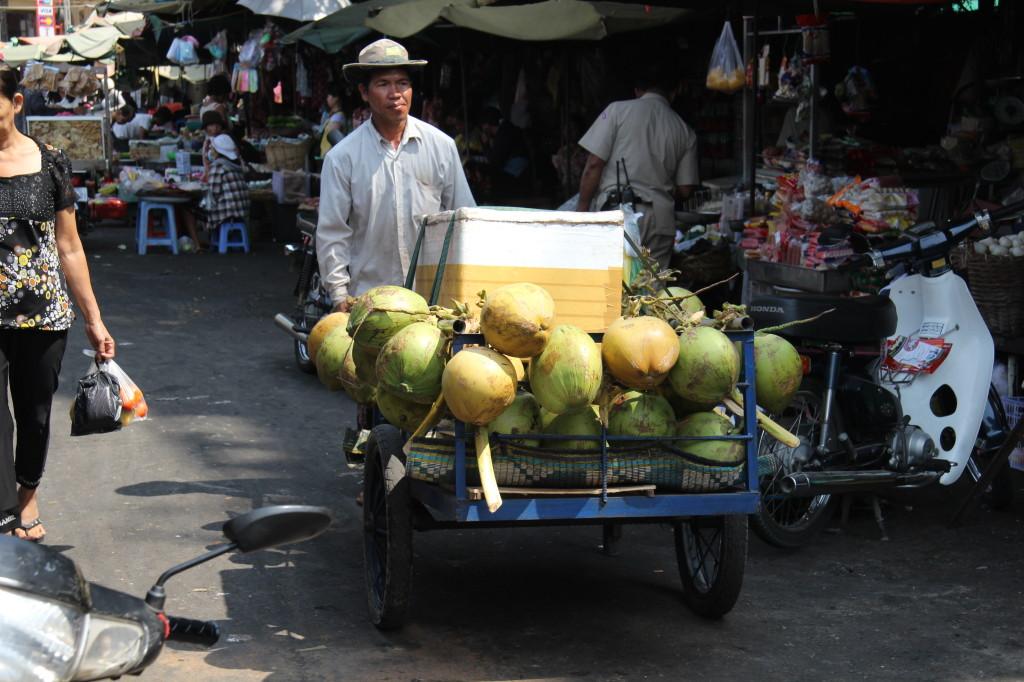 Fahrender Kokosnuss-Verkäufer