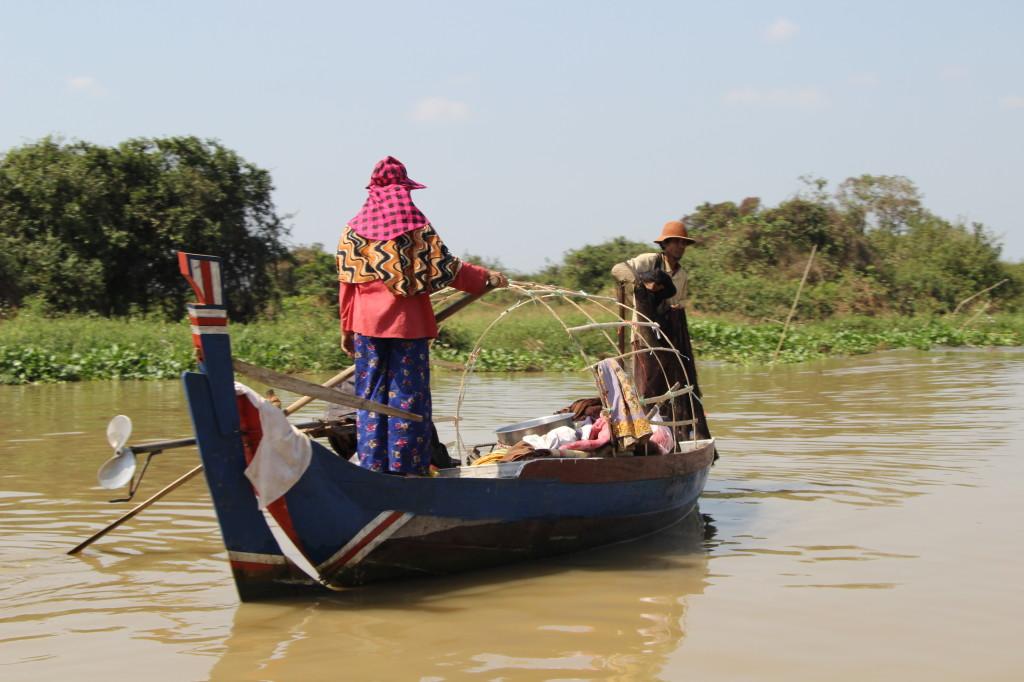 Fischerboot im Mekong