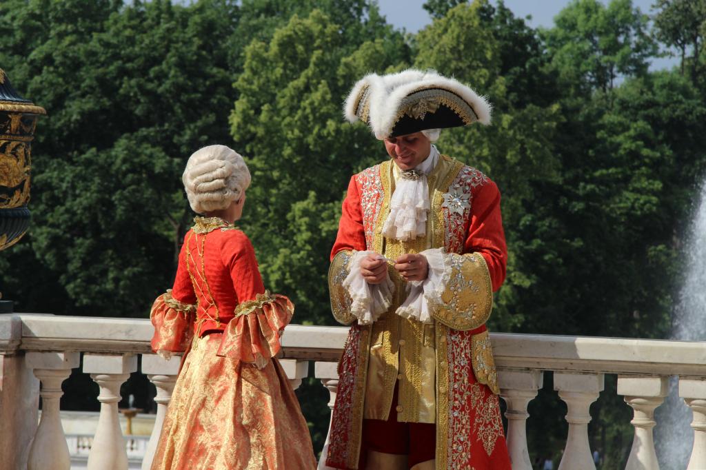 Peter der Große mit seiner Braut im Schloss Peterhof