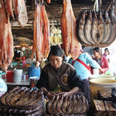 Phsar Nath - Geräucherter Fisch auf dem zentralen Markt von Battambang