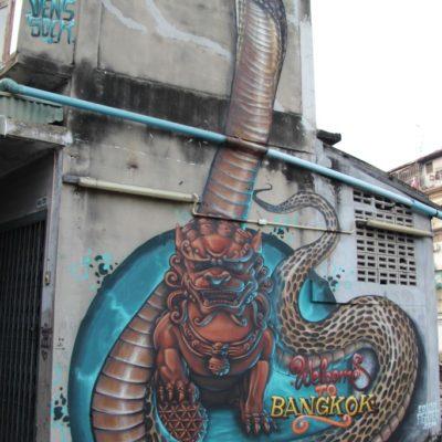 Schlangen-Graffiti am Khlong Maha Nak