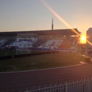 Sonnenuntergang hinter dem Jaber Al-Ahmad International Stadium