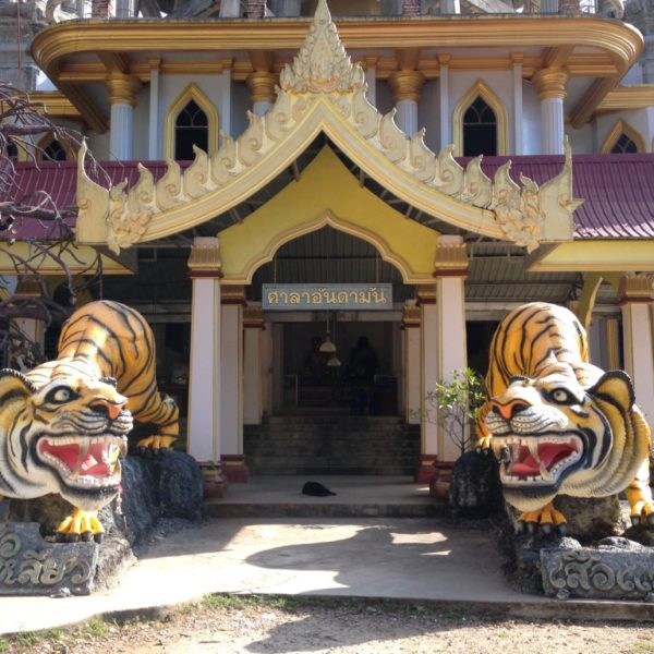 Tiger Cave Temple (Wat Tham Suea) - Richtige Tiger gib es hier nicht, aber diese zwei Tiger-Statuen schmücken den Eingang