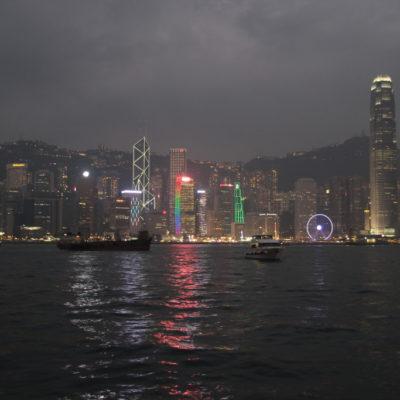Skyline von Hongkong & Victoria Harbour bei Nacht