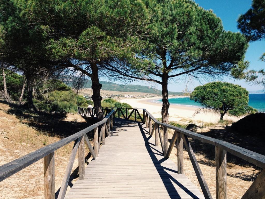 Holzsteg an der Playa de Bolonia