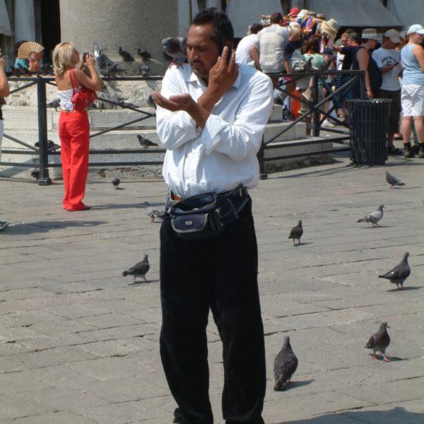 Mulit-Tasking auf dem Markusplatz - Tauben füttern und telefonieren