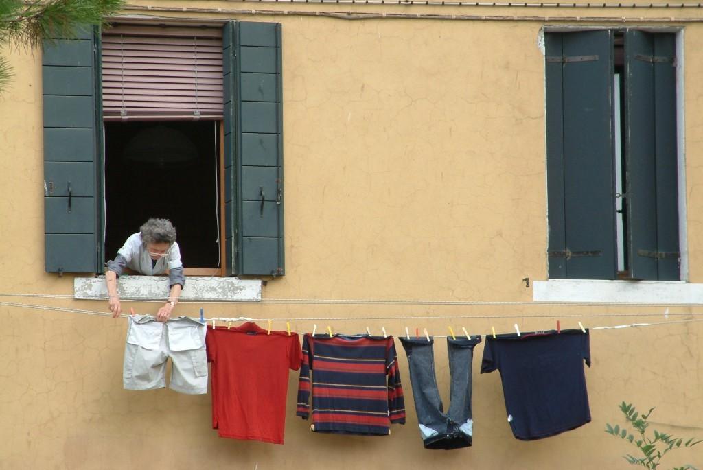 Wäscheleine über dem Canal Grande