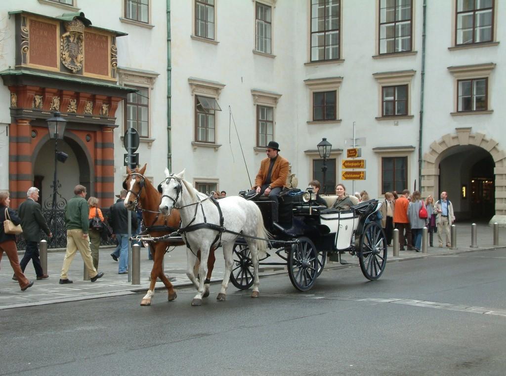 Burgplatz - Rikscha vor dem Schweizer Tor